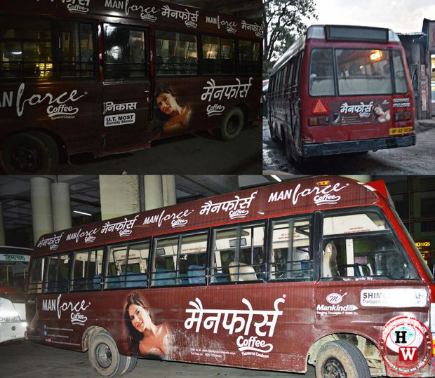 condom advertisment on shimla buses
