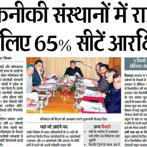 65% Reservation For HP Students In Technical Courses