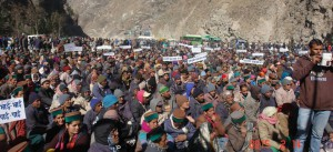 Kinnuar JP Hydro-power protest Massive protest from workers farmers for justice