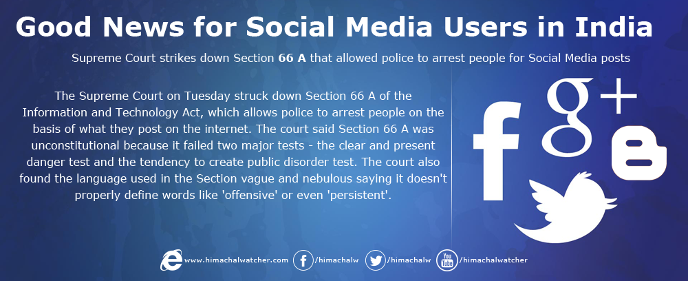 Supreme Court strikes down Section 66 A that allowed police to arrest people for Social Media posts