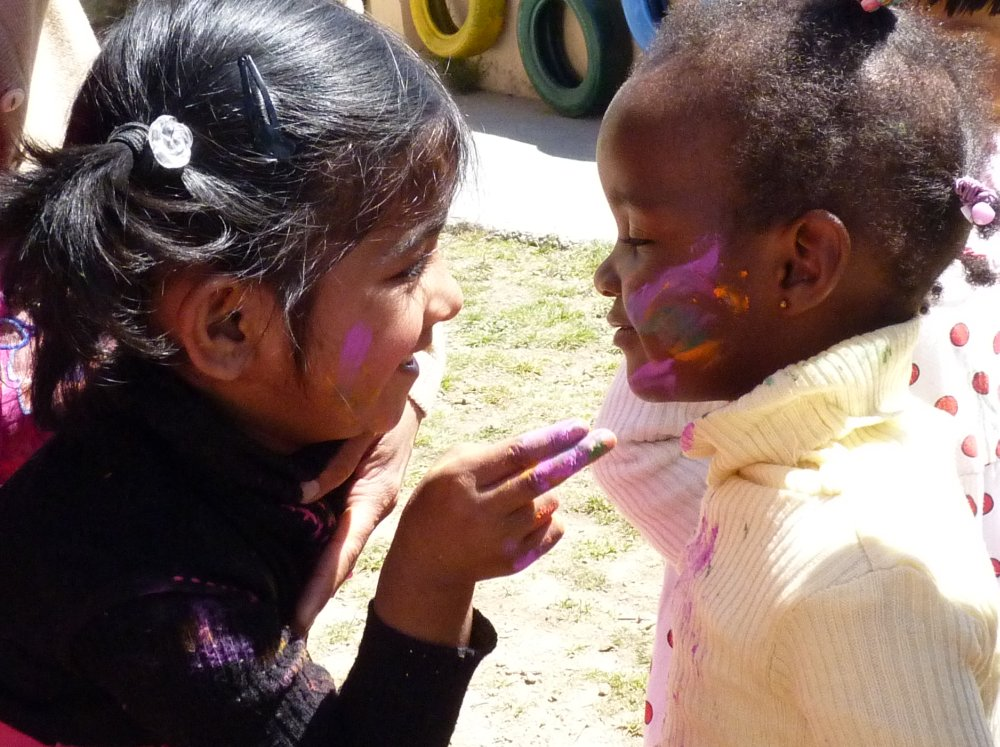children playing holi