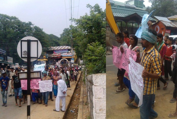 Dharamsala slum dweller protest march