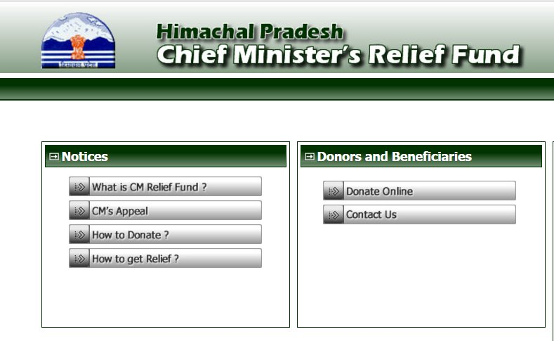 HP CM Relief Fund Online donation