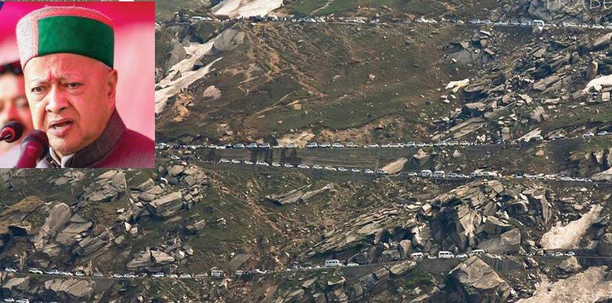 Virbhadra Singh on Rohtang Pass