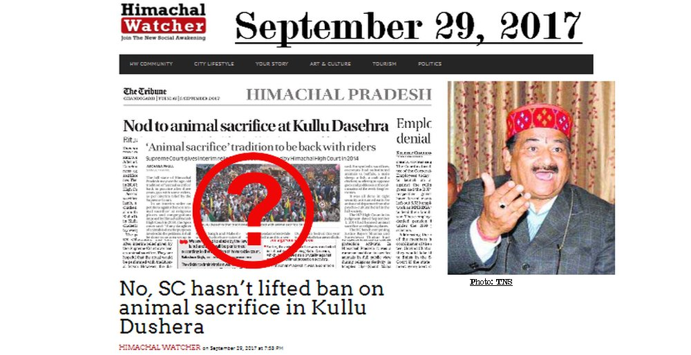 No Animal Sacrifice at Kullu dussehra