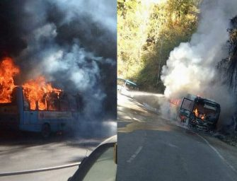 HRTC bus in Shimla catches fire – Pics