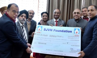 SJVN donation towards HP CM relief Fund