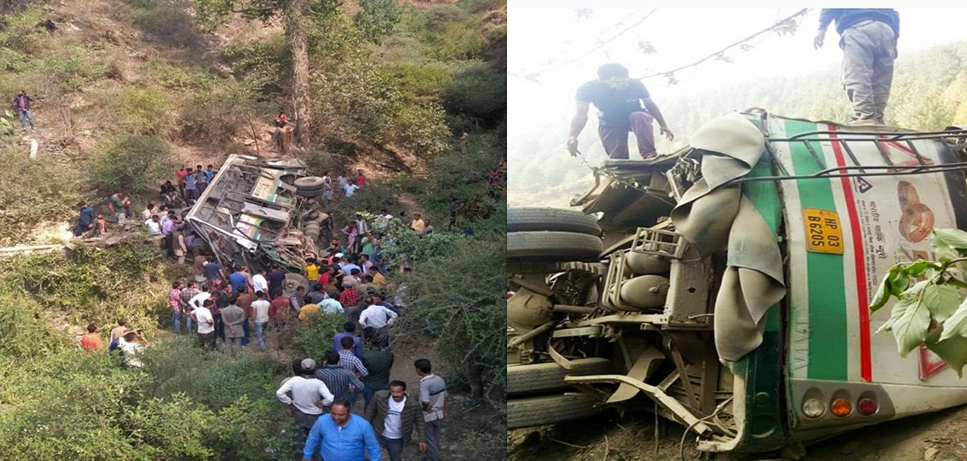 Bus accident on Theog-Chaila road in shimla