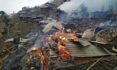Fire in Jindi Village of Kullu district in Himachal Pradesh