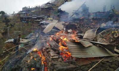 Fire in Jindi Village of Kullu district in Himachal Pradesh