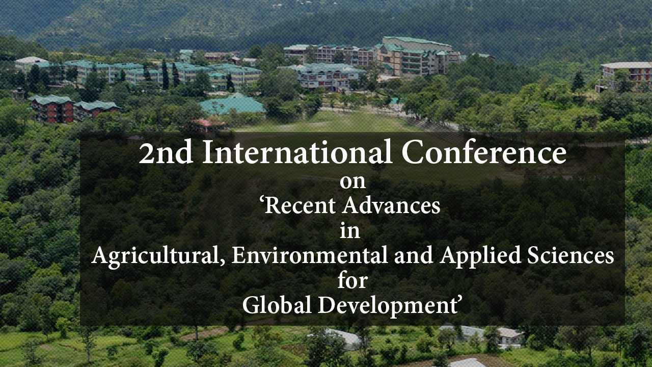 2nd International Conference on Recent Advances in Agricultural, Environmental and Applied Sciences for Global Development