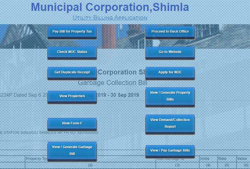 Online Shimla MC Bill Payement