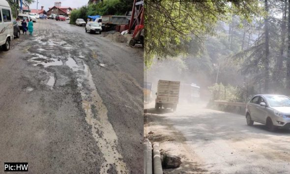 Shimla bypass road on NH 5 in poor condition