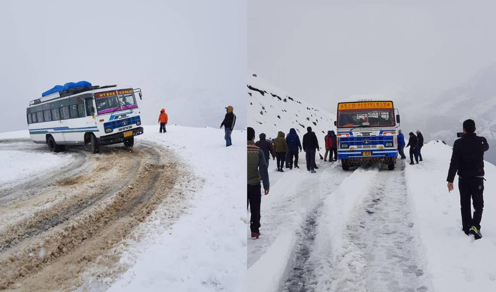 Snowfall in rohtang Pass in october 2019 2