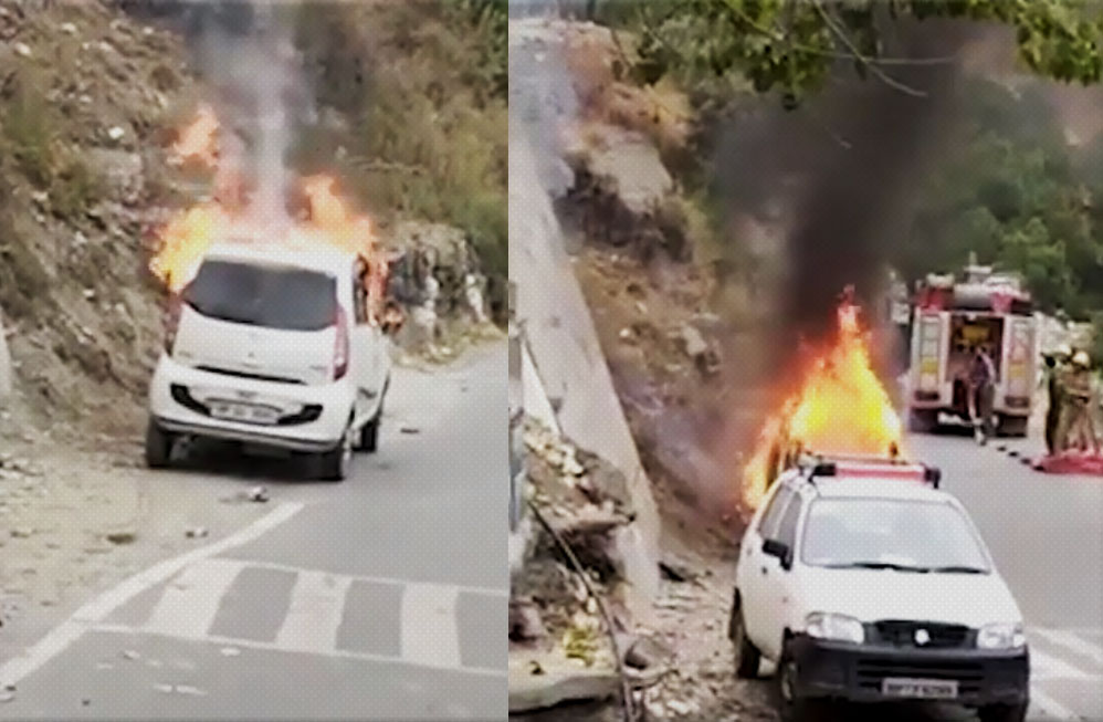 Car catches fire in chamba