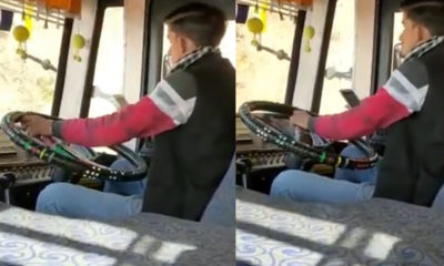 Bilaspur bus driver using mobile while driving j