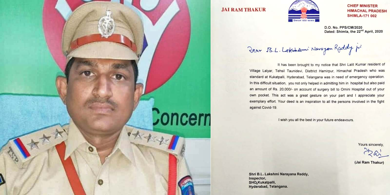 Telangana Police Official helps migrant labourer of himachal