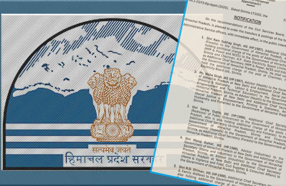 Himachal PRadesh IAS officers transferred on may 31, 2020