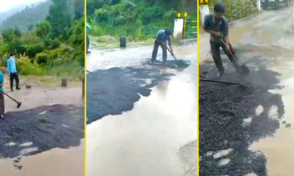 Viral Himachal pradesh road tarring video