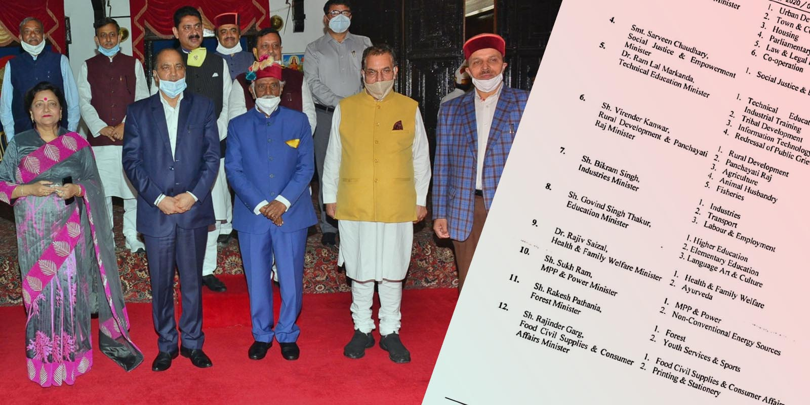 New Hp Cabinet Minister portfolios