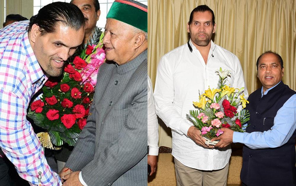 great khalli with jairam and virbhadra singh