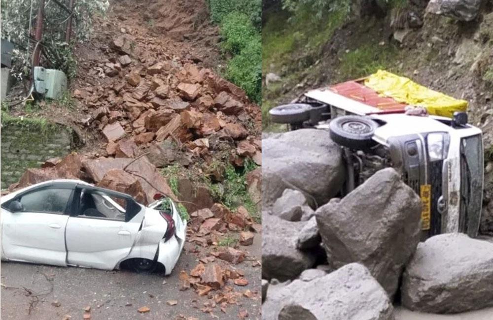 landslide in shimla crushed car