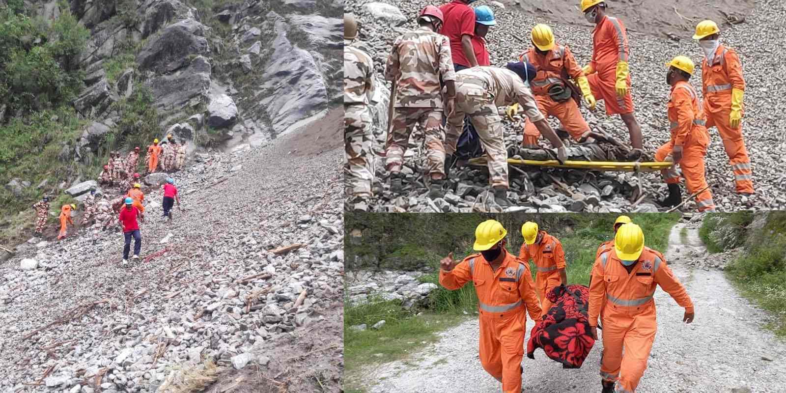 Kinnaur landslide rescue operation photos